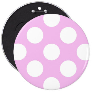 Polka Dots, Spots (Dotted Pattern) - Pink White Buttons