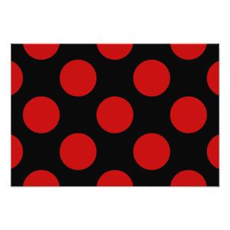 Polka Dots, Spots (Dotted Pattern) - Red Black Photo Print