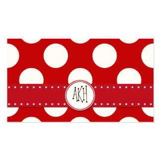 Polka Dots, Spots (Dotted Pattern) - Red White Double-Sided Standard Business Cards (Pack Of 100)