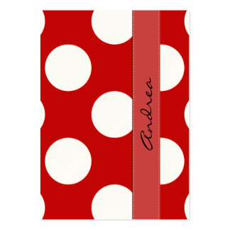 Polka Dots, Spots (Dotted Pattern) - Red White Large Business Card