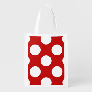 Polka Dots, Spots (Dotted Pattern) - Red White Reusable Grocery Bag