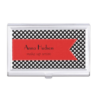 Polka Dots, Spots (Dotted Pattern) - White Black Case For Business Cards