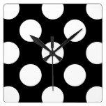 Polka Dots, Spots (Dotted Pattern) - White Black Wall Clocks