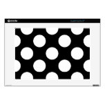 """Polka Dots, Spots (Dotted Pattern) - White Black Decals For 15"""" Laptops"""
