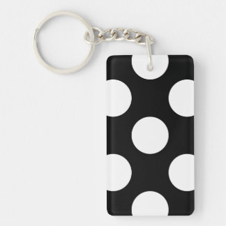 Polka Dots, Spots (Dotted Pattern) - White Black Double-Sided Rectangular Acrylic Keychain