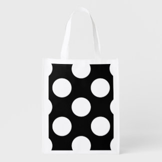 Polka Dots, Spots (Dotted Pattern) - White Black Grocery Bag