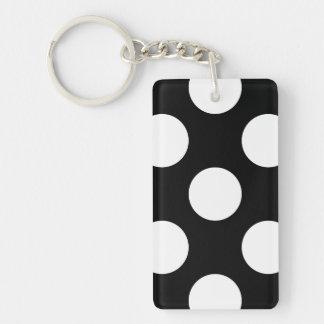 Polka Dots, Spots (Dotted Pattern) - White Black Key Chain