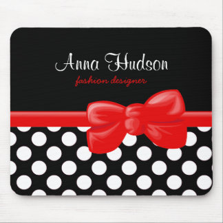 Polka Dots, Spots (Dotted Pattern) - White Black Mouse Pad