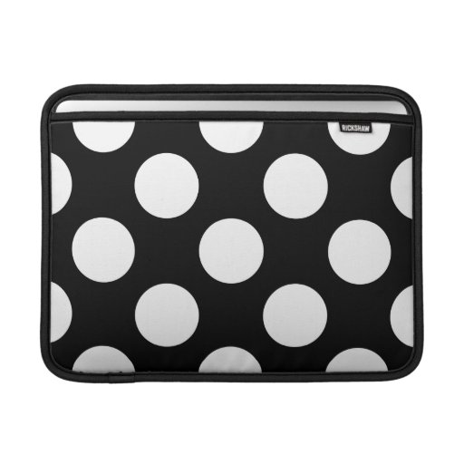 Polka Dots, Spots (Dotted Pattern) - White Black Sleeves For MacBook Air