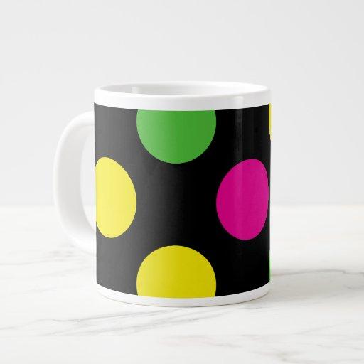 Polka Dots (Spots) Pattern - Pink Green Yellow Extra Large Mugs