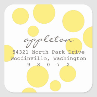 Polka Dots Square Address Label Sticker