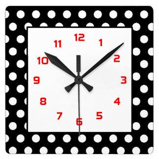 Polka Dots Squared- Black White Red Wall Clock