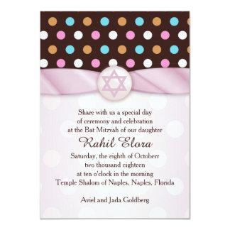 Polka dots, Star of David Bat Mitzvah Invitation