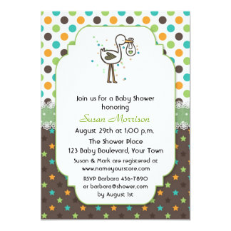 Polka Dots, Stars and Stork Baby Shower Personalized Invite