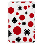 Polka Dots & Stars in Red Rectangle Magnet