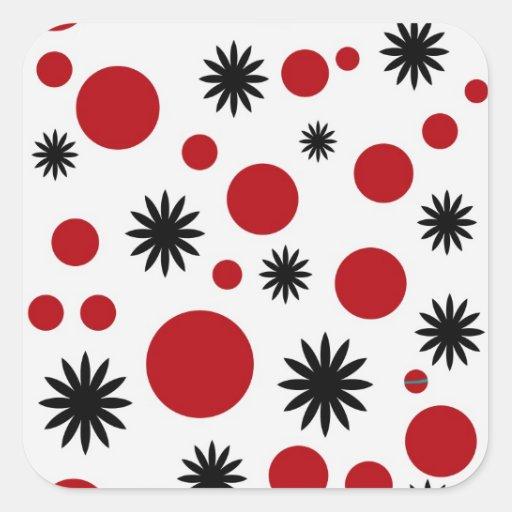 Polka Dots & Stars in Red Sticker