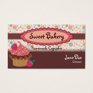 Polka Dots Strawberry Cupcake Business Cards