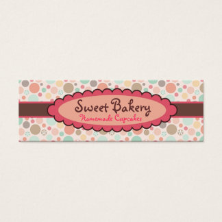 Polka Dots Strawberry Cupcake Mini Business Cards