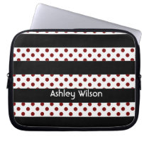 polka dots stripes black and white personalized computer sleeve