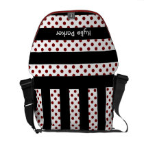 polka dots stripes black and white personalized messenger bag