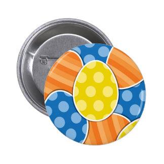 Polka Dots & Stripes Cartoon Easter Eggs 2 Inch Round Button
