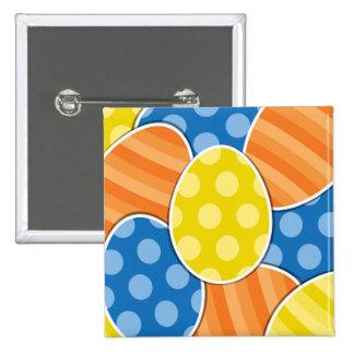 Polka Dots & Stripes Cartoon Easter Eggs 2 Inch Square Button