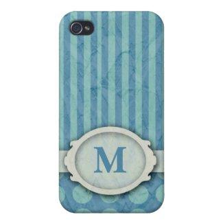 Polka Dots & Stripes Monogram iPhone 4 Case