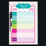 "Polka Dots &amp; Stripes Weekly Meals Dry Erase Board<br><div class=""desc"">Polka Dots &amp; Stripes Weekly Meals Dry Erase Board is the perfect way to plan out your meals every week and makes grocery list writing a breeze! Perfect for tracking and recording points,  calories and more!</div>"