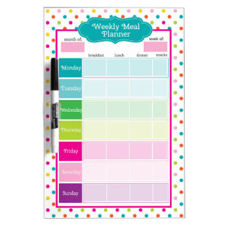 Polka Dots & Stripes Weekly Meals Dry Erase Board