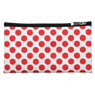 Polka Dots Sueded Cosmetic Bag - Red on White