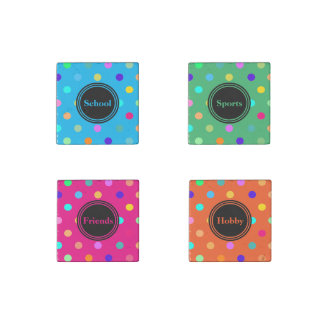 Polka dots themed confetti marble stone magnets