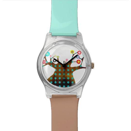 Polka dots tree wristwatch