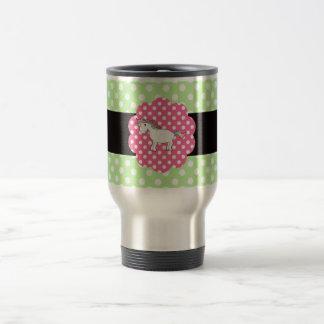 Polka dots unicorn 15 oz stainless steel travel mug