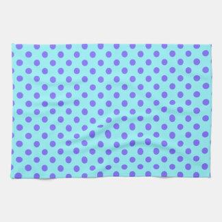 Polka Dots - Violet on Electric Blue Kitchen Towels