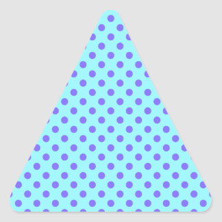 Polka Dots - Violet on Electric Blue Triangle Sticker