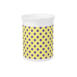 Polka Dots - Violet on Yellow Beverage Pitcher