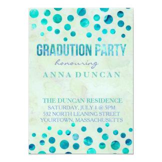 Polka dots watercolour graduation party invitation