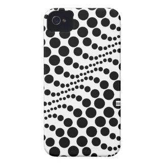 Polka Dots Wave Big Black iPhone 4 ID Case