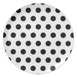 Polka Dots White & Black Dinner Plate