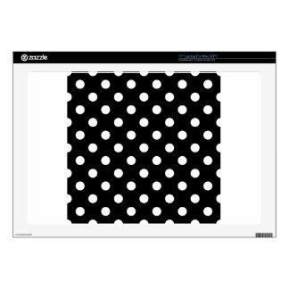 "Polka Dots - White on Black 17"" Laptop Decals"