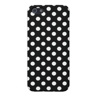 Polka dots-white on black iPhone 5 cases
