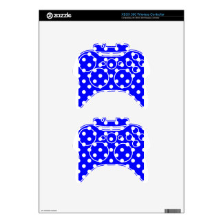 Polka Dots - White on Blue Xbox 360 Controller Skin