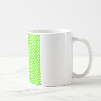 Polka Dots - White on Bright Green Coffee Mug