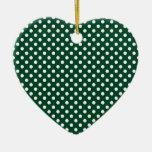 Polka Dots - White on British Racing Green Christmas Ornament