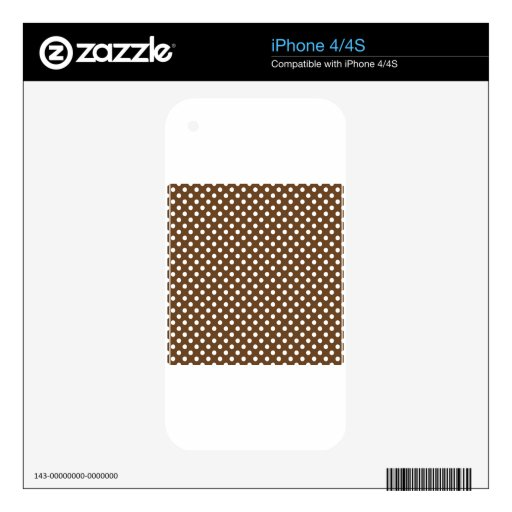 Polka Dots - White on Brown Nose Skins For The iPhone 4S