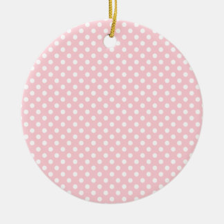 Polka Dots - White on Bubble Gum Double-Sided Ceramic Round Christmas Ornament