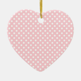 Polka Dots - White on Bubble Gum Double-Sided Heart Ceramic Christmas Ornament