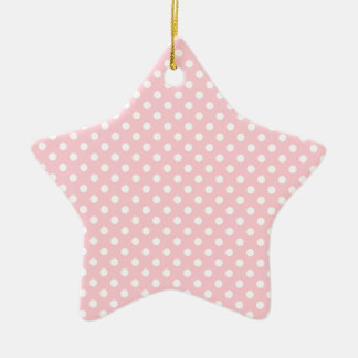 Polka Dots - White on Bubble Gum Double-Sided Star Ceramic Christmas Ornament