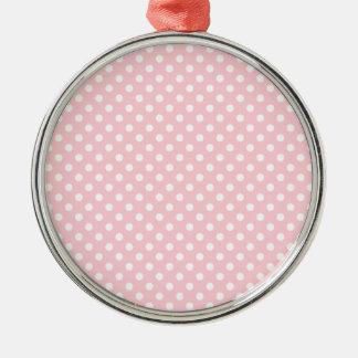 Polka Dots - White on Bubble Gum Round Metal Christmas Ornament