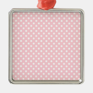 Polka Dots - White on Bubble Gum Square Metal Christmas Ornament